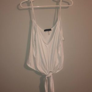 White slightly cropped tie front tank top